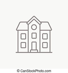 家, 2階, 孤立した, 線, icon.
