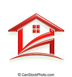 家, 3d, グロッシー, 赤, ロゴ