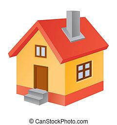 家, 3d, 图标
