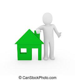 家, 3d, 緑, 人