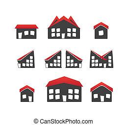 家, 6, セット, 変化, アイコン