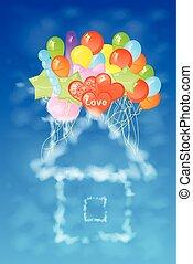 家, balloons., 雲, イラスト, 多数