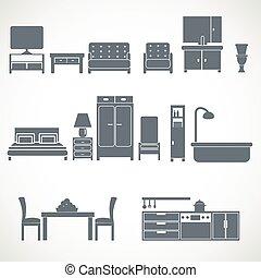 家, blackicons, デザインを設定しなさい, 家具