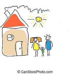 家, childs, 図画, 家族