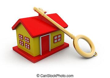 家, concept., 鑰匙, 插圖, 3d