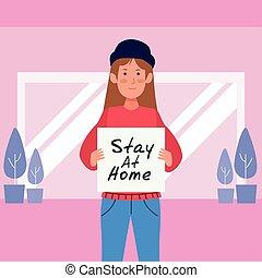 家, covid19, 旗, 滞在, 女