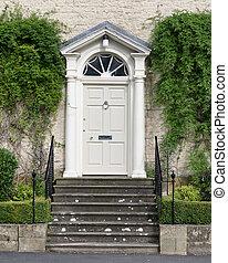 家, georgian, 形式的, 入口, 優雅である