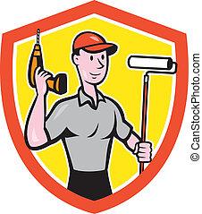 家, handyman, ペンキ, 画家, 漫画, ローラー