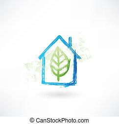 家, icon., 葉, グランジ