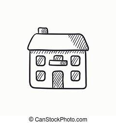 家, icon., 2, 孤立した, 階, スケッチ
