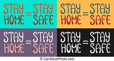 家, letterings, 検疫, 動機づけである, 安全である, 滞在, set., slogan.