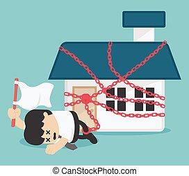 家, liabilities, 概念, ビジネス, 持つ