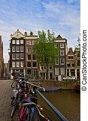 家,  netherlands, 古い, アムステルダム