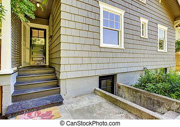 家, porch., デザイン, 外面, 小さい, 裏庭