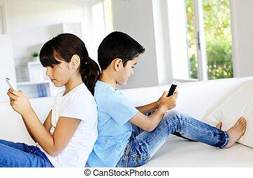 家, smartphones, 遊び, 子供