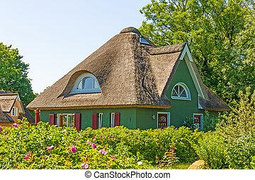 家, thatched-roof, 休暇