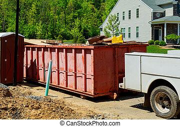 容器, ごみ, リサイクル, サイト, 建設, 家, 背景, 新しい, 浪費容器, 赤