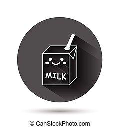 容器, イラスト, 面白い, アイコン, 黒, 影, concept., 長い間, ビジネス, 平ら, ベクトル, かわいい, ミルク, style., milkshake, effect., 漫画, 円, ラウンド, 背景, ボタン