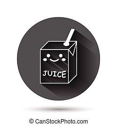 容器, イラスト, 面白い, ボタン, 飲みなさい, アイコン, 黒, 影, concept., kawaii, 長い間, ビジネス, 平ら, ベクトル, かわいい, style., effect., 漫画, 円, ラウンド, 背景, ジュース