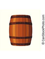容器, ラム酒, アルコール, バックグラウンド。, 木製である, 飲みなさい, 隔離された, イラスト, 樽, 小樽...