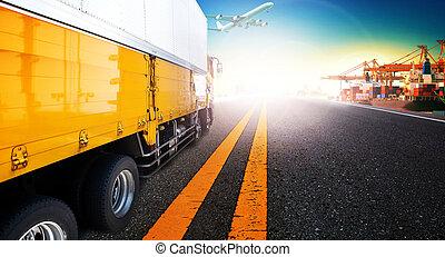 容器, 卡車, 以及, 船, 在, 進口, 港口, 港口, 由于, 貨物, 貨物, 飛機, 飛行