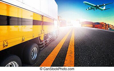 容器, 卡車, 以及, 貨物, 貨機, 飛行結束, 船院子, 為, 後勤, 以及, 運輸, 事務