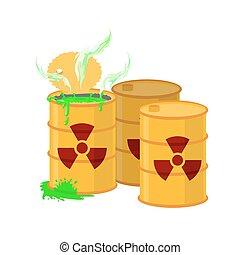 容器, 印。, 放射, 黄色, waste., ベクトル, 緑, イラスト, acid., 放射性, 樽, 開いた, ...