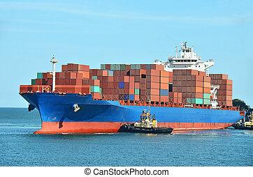 容器, 山, 上に, 貨物 船