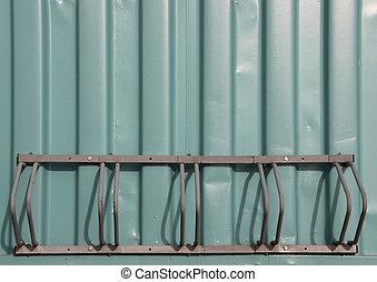 容器, 山, 緑, 自転車ラック, 空