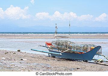 容器, 岸に上げられた, フィリピン, 釣り