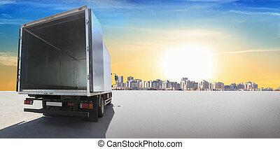 容器, 打開, 卡車