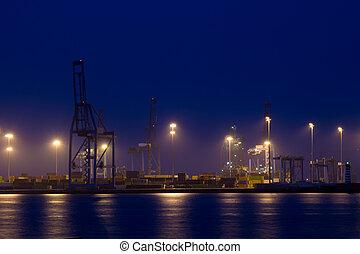 容器, 港口, 夜晚