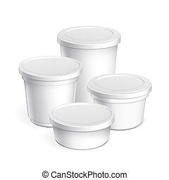 容器, 現実的, ジャム, プラスチック, ヨーグルト, products., ブランク, 白, 他