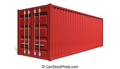 容器, 發貨, 紅色