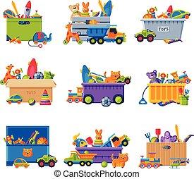 容器, 箱, ベクトル, プラスチック, イラスト, コレクション, 赤ん坊, おもちゃ, おもちゃ, 様々, ボール紙, カラフルである
