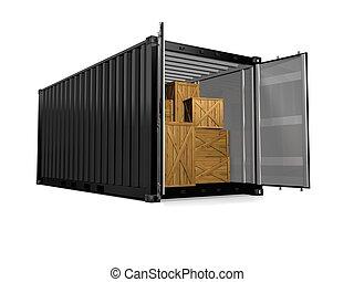 容器, 背景, render, 貨物, 白, 3d