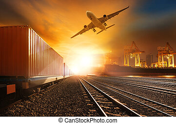 容器, 船, 港, 輸送貨物, 使用, 容器, 飛行, の上, ビジネス, トラック, 鉄道, コマーシャル,...
