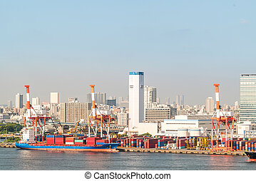 容器, 貨物ボート, 大きい, 航空写真