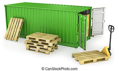 容器, 開いた, 多数, パレット, 箱, カートン, 赤