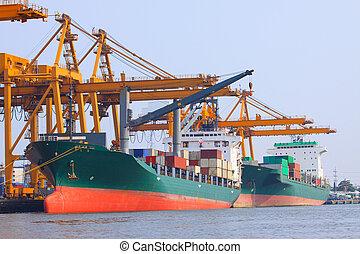 容器, expor, コマーシャル, 出荷, 輸入, 船, 港