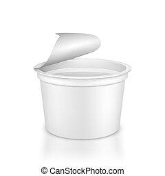 容器, illustration., ジャム, 酸っぱい, products., プラスチック, ヨーグルト, ベクトル, ブランク, クリーム, 白, 他