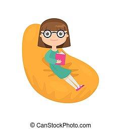 容易である, モデル, 隔離された, に対して, 椅子, 本, 背景, 白, 読書, 女の子, ガラス