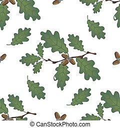 容積測定, ブランチ, gradient., seamless., オーク, ドングリ, leaves., イラスト, 隔離された, バックグラウンド。, なしで, 緑, 格子, 白, 図画