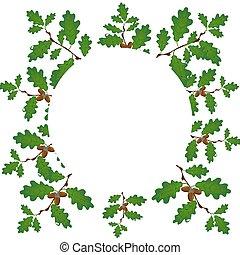 容量, 分支, gradient., 橡木, 橡子, 被隔离, 插圖, circle., 背景。, 沒有, 綠色, 柵格, 白色, 圖畫