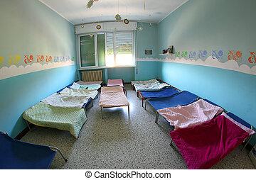 宿舍, 托儿所, 毛毯, cots, 孩子