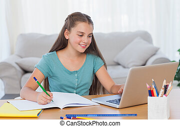 宿題, 彼女, 家, 女の子