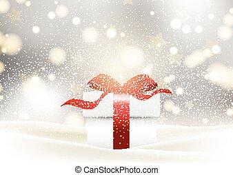 寄り添われる, 贈り物, 雪, 弓, グロッシー, 背景, クリスマス, 赤