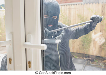 寄付き戸, 強盗, バール