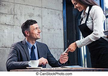 寄付, ウエーター, 銀行, 女性, カード, 人