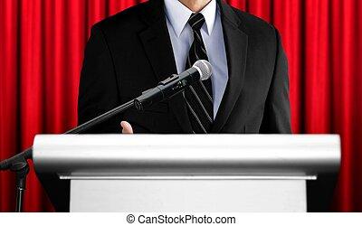 寄付, スピーチ, スピーカー, 赤い背景, カーテン, セミナー